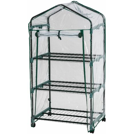 Greenhouse with 3 shelves 69 x 49 x 125 cm - mini greenhouse, small greenhouse, greenhouse shelving - transparent