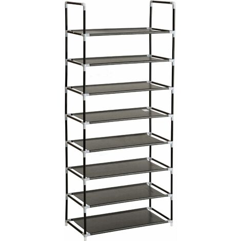 Shoe rack with 8 shelves - shoe shelf, tall shoe rack, shoe organiser - black