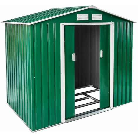 Shed with saddle roof - garden shed, metal shed, tool shed - green