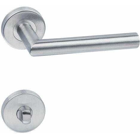 Door handle set stainless steel - internal door handle, bathroom door handle, round door handle - grey