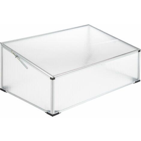 Cold frame - mini greenhouse, cold frame greenhouse, plastic cold frame - 102 x 61 x 41 / 31 cm - transparent
