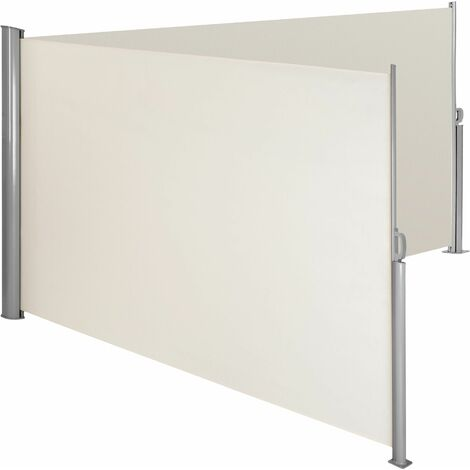 Aluminium double side awning privacy screen - privacy screen, garden privacy screen, patio awning - 160 x 600 cm - beige