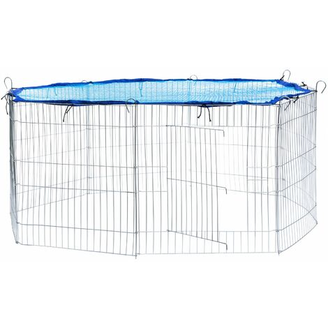 Rabbit run with safety net - guinea pig run, rabbit cage, rabbit pen - blue