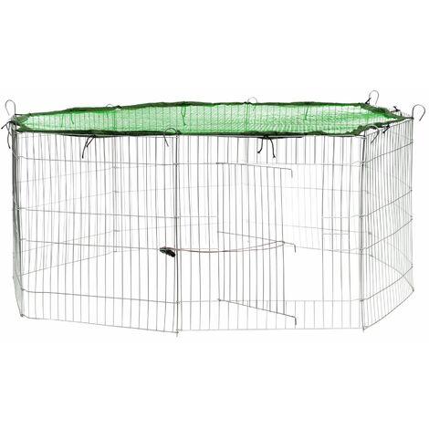 Rabbit run with safety net - guinea pig run, rabbit cage, rabbit pen - green