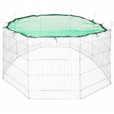 Large rabbit run with safety net Ø 204cm - guinea pig run, rabbit cage, rabbit pen - green