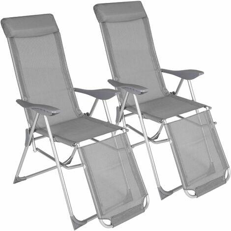 Garden chairs set of 2 Jana - reclining garden chairs, garden recliners, outdoor chairs - grey
