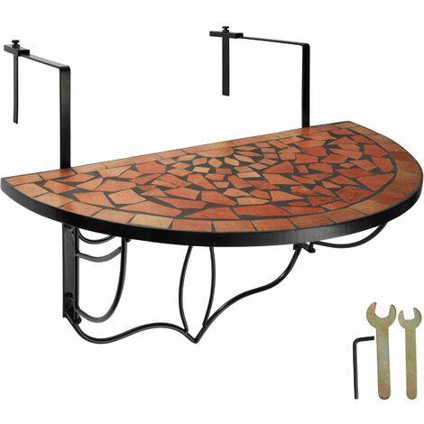 Foldable Balcony Table Mosaic - folding garden table, mosaic garden table, small patio table - terracotta
