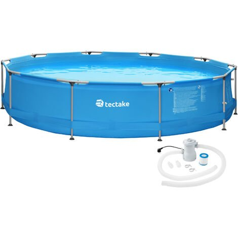 Swimming pool round with pump - outdoor swimming pool, outdoor pool, garden pool - Ø 360 x 76 cm - blue
