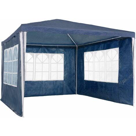 Gazebo 3x3m with 3 side panels - garden gazebo, gazebo with sides, camping gazebo - blue
