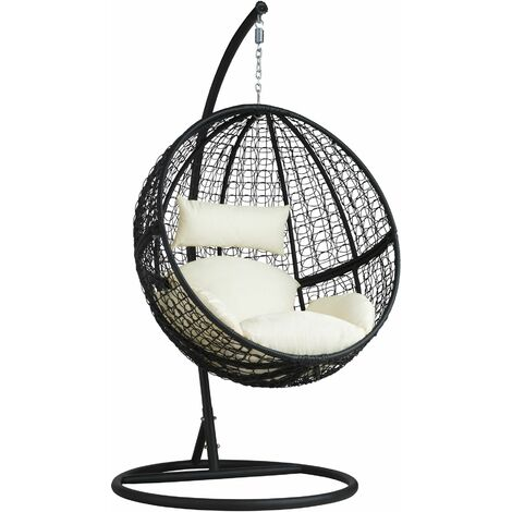 Hanging chair with round frame rattan - hanging egg chair, swing chair, hanging garden chair - black