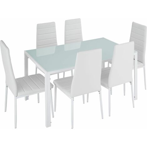 Dining table and chair SET Brandenburg 6+1 - dining room table and chairs, dining table and 6 chairs, kitchen table and chairs - white
