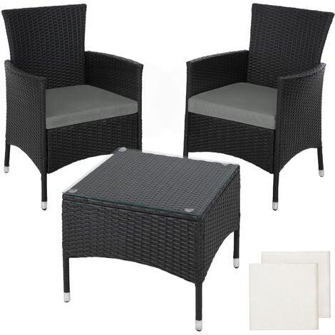 Rattan Garden Furniture Set Lucerne, Black Wicker Outdoor Furniture Sets