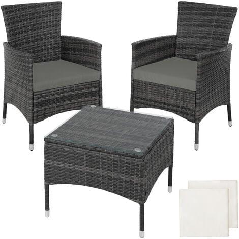 Rattan garden furniture set Lucerne - garden tables and chairs, garden furniture set, outdoor table and chairs - grey