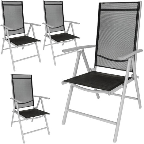 4 aluminium garden chairs - reclining garden chairs, garden recliners, outdoor chairs - black/silver