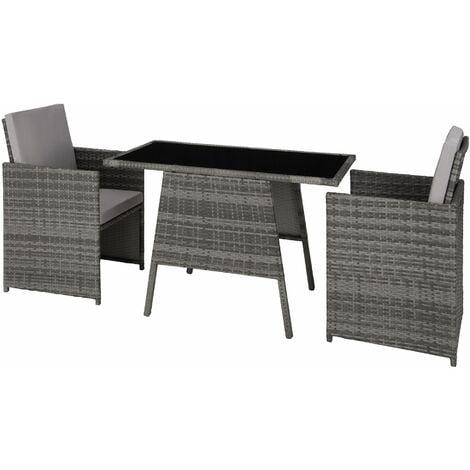 Rattan garden furniture set Lausanne - garden tables and chairs, garden furniture set, outdoor table and chairs - grey