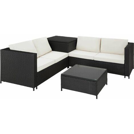 Rattan garden furniture lounge Siena - garden sofa, garden corner sofa, rattan sofa - black