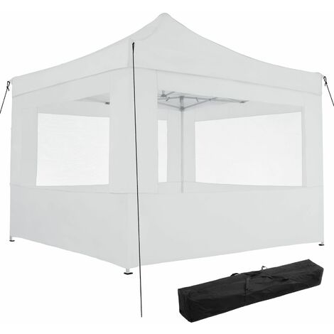 Gazebo collapsible 3x3 m with 4 Sides - Olivia - garden gazebo, gazebo with sides, camping gazebo - white