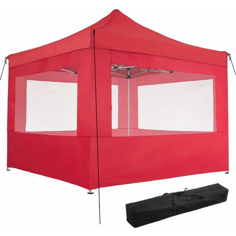 Gazebo collapsible 3x3 m with 4 Sides - Olivia - garden gazebo, gazebo with sides, camping gazebo - red