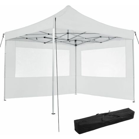 Gazebo collapsible 3x3 m with 2 Sides - Olivia - garden gazebo, gazebo with sides, camping gazebo - white