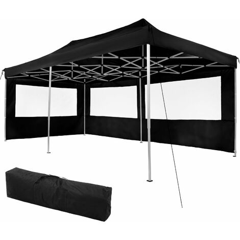 Gazebo collapsible 3x6 m with 2 Sides - Viola - garden gazebo, gazebo with sides, camping gazebo - black