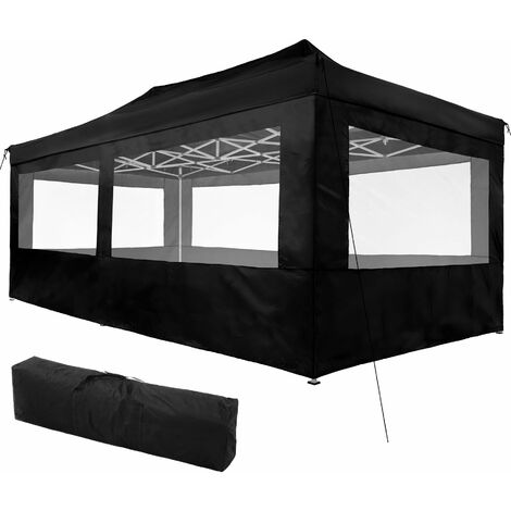Gazebo collapsible 3x6 m with 4 Sides - Viola - garden gazebo, gazebo with sides, camping gazebo - black