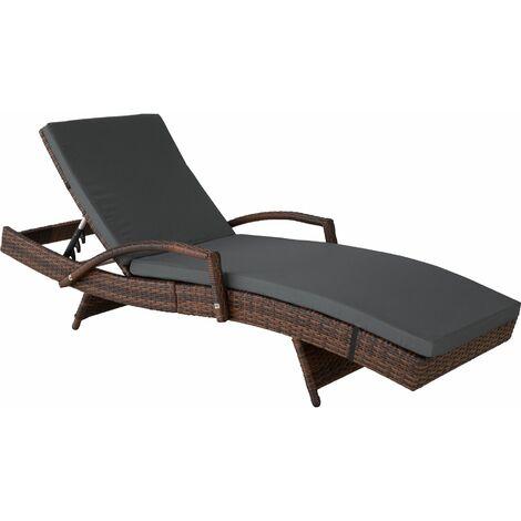Sun lounger Océane rattan - reclining sun lounger, garden lounge chair, sun chair - black/brown