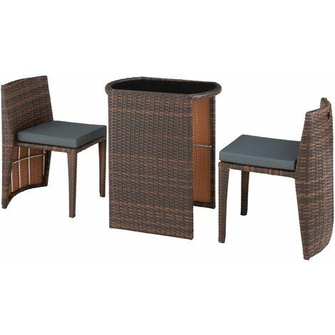 Rattan garden furniture set Hamburg - garden tables and chairs, garden furniture set, outdoor table and chairs - black/brown