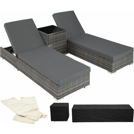 2 sunloungers + table with protective cover rattan aluminium - reclining sun lounger, garden lounge chair, sun chair - gris