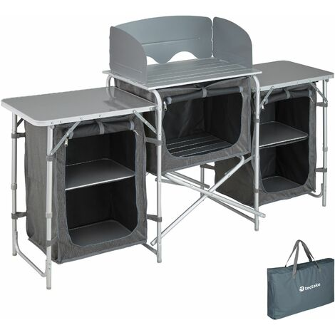 Camping Kitchen 172x52x104cm - camping kitchen unit, camping kitchen stand, camping cooking table - grey