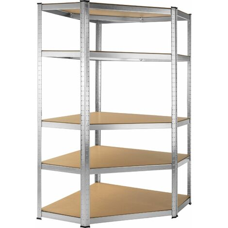 Garage shelving unit corner shelf, heavy-duty - corner shelf, corner shelf unit, metal shelving - brown