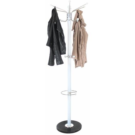 Coat stand - coat rack, coat hook rack, clothes stand - white