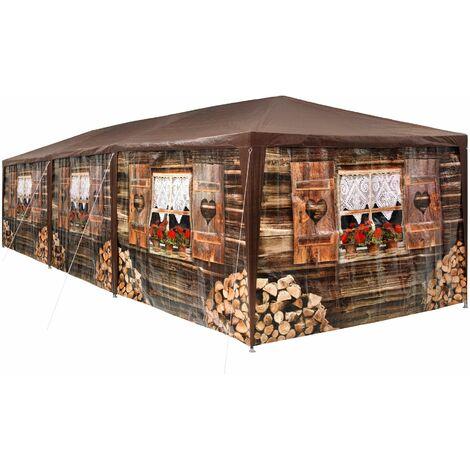 Gazebo log cabin 9x3m with 8 side panels - garden gazebo, gazebo with sides, camping gazebo - brown