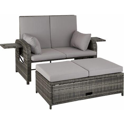 Rattan sofa Crete - 2 seater sofa, garden sofa, recliner sofa - grey
