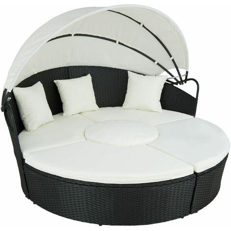 Rattan sun lounger island Santorini - garden lounge chair, sun chair, double sun lounger - black