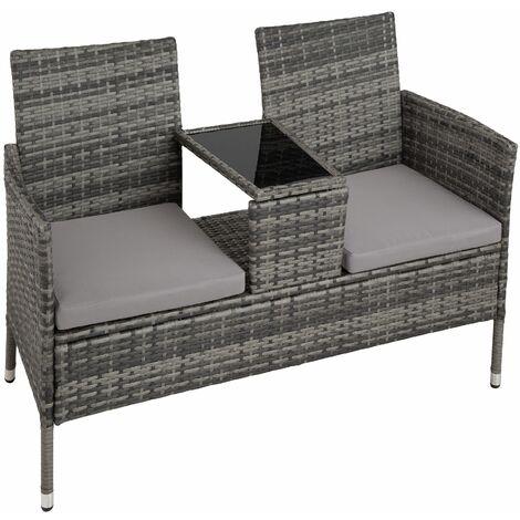 Garden bench with table poly rattan - love seat, patio set, garden set - grey