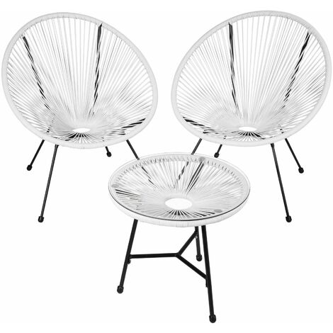 Set of 2 Gabriella chairs with table - round table and chairs, glass table and chairs, table and 2 chairs - white