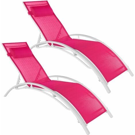 Set of 2 Alina sun loungers - garden lounger, reclining sun lounger, garden sun lounger - pink
