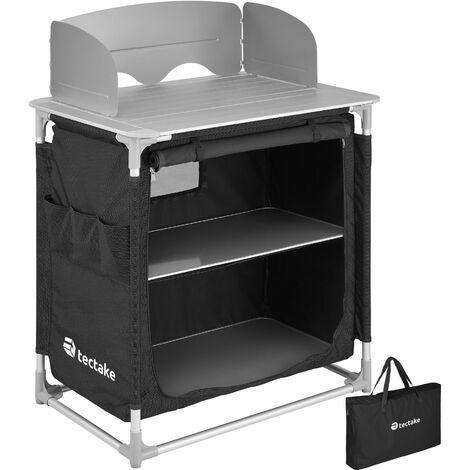 Camping Kitchen 76x53.5x107cm - camping kitchen unit, camping kitchen stand, camping cooking table - black