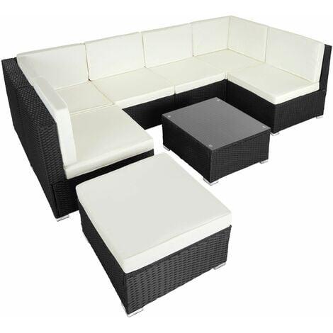 Rattan garden furniture lounge Venice - garden sofa, garden corner sofa, rattan sofa - black