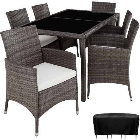 Rattan garden furniture set Lissabon 6+1 with protective cover - garden tables and chairs, garden furniture set, outdoor table and chairs - grey
