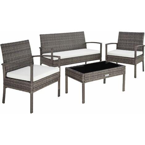 Rattan garden furniture set Sparta 3+1 - garden tables and chairs, garden furniture set, outdoor table and chairs - grey