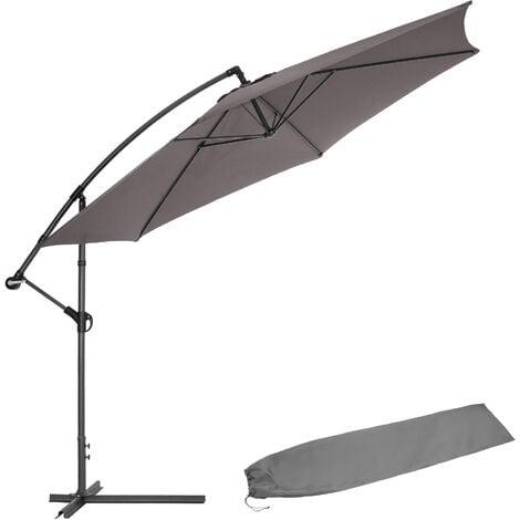 Cantilever Parasol 350cm with protective sleeve - garden parasol, overhanging parasol, banana parasol - grey