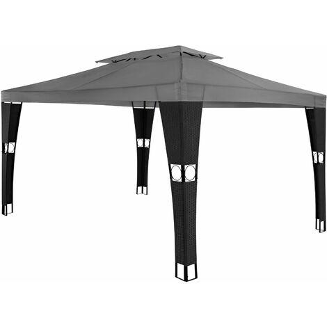 Gazebo Mona 3x4m rattan - garden gazebo, camping gazebo, party gazebo - black/anthracite