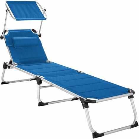 Sun lounger Lorella - garden lounger, cushioned sun lounger, garden sun lounger - blue