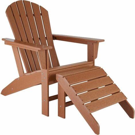 Garden chair Janis with footstool Joplin - sun lounger, garden lounger, plastic garden chair - brown