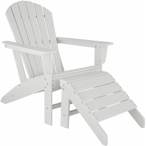 Garden chair Janis with footstool Joplin - sun lounger, garden lounger, plastic garden chair - white