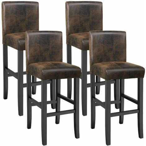 4 Breakfast bar stools made of artificial leather - bar stool, kitchen stool, wooden stool - antique brown