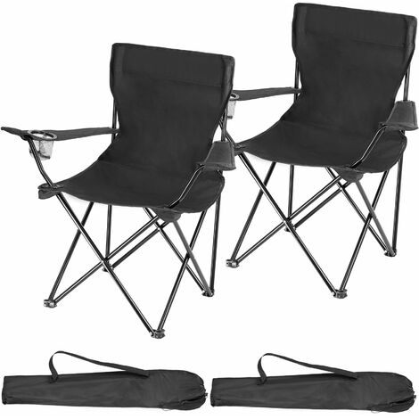 2 Camping chairs Gil - garden chairs, outdoor chairs, folding garden chairs - black