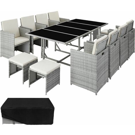 Rattan garden furniture set Palma 8+4+1 with protective cover, - garden tables and chairs, garden furniture set, outdoor table and chairs - light grey