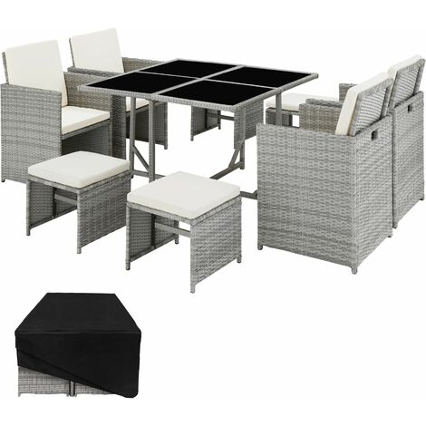 Rattan garden furniture set Bilbao 4+4+1 with protective cover - garden tables and chairs, garden furniture set, outdoor table and chairs - light grey